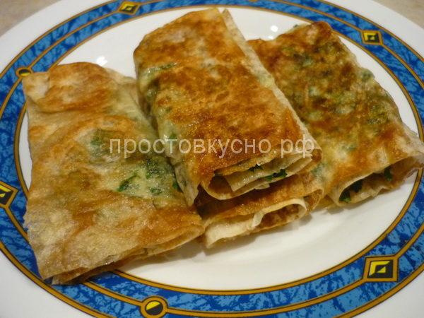Армянский лаваш с начинкой из брынзы и зелени